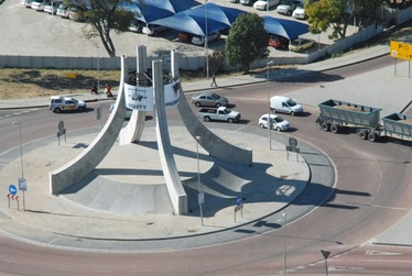 Nelson Mandela road traffic island on the approach to Polokwane