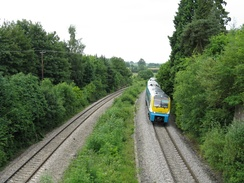 A Class 175 'Coradia' running through currently closed Dinmore railway station, Herefordshire on the Welsh Marches Line on an Arriva Trains Wales service.