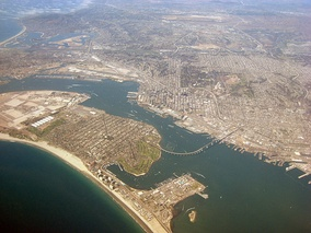 View of Coronado and San Diego from the air