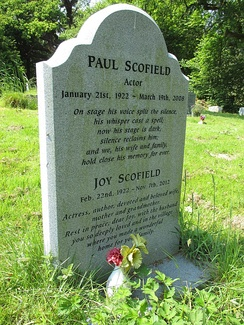 Paul and Joy Scofield's gravestone in St Mary's churchyard, Balcombe, West Sussex