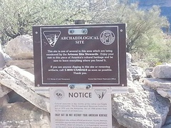 U.S. Bureau of Land Management Marker on Indian Mesa. The marker warns that removal of artifacts is strictly forbidden by Federal Law.