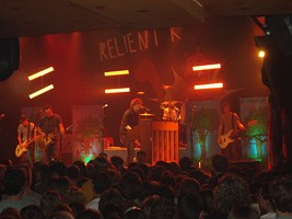Relient K performing in May 2007. From left to right: Jon Schneck, Matt Hoopes, Matt Thiessen, Dave Douglas and John Warne.