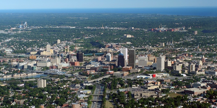 Downtown Rochester as seen from the air in August 2007