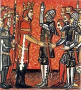Roland pledges fealty to Charlemagne, Holy Roman Emperor