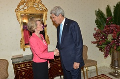 Bishop with US Secretary of State John Kerry