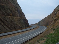 A cut 340 feet (100 m) deep eases the crossing of Sideling Hill on I-68/US 40 west of Hancock