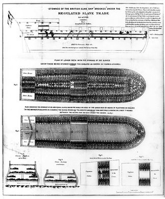 Diagram of a slave ship, the Brookes, illustrating the inhumane conditions aboard such vessels