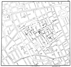 John Snow's map showing the clustering of cholera cases in Soho during the London epidemic of 1854