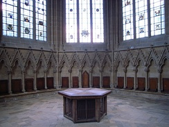 Interior of the Chapter House at Southwell Cathedral, England.