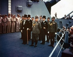Representatives of the Empire of Japan stand aboard USS Missouri prior to signing of the Instrument of Surrender.