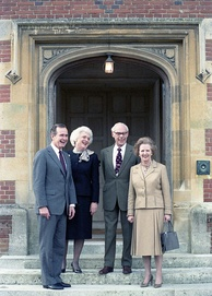 Second Lady Barbara Bush and the Vice President with Prime Minister Margaret Thatcher and Denis Thatcher at Chequers, 1984