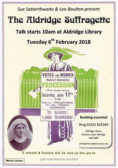 "Poster of the first public talk on Ellen Isabel Jones' life, naming her ""The Aldridge Suffragette""."