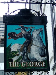 The pub sign of The George, Southwark, depicting St George slaying a dragon