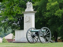 An artillery piece in the monument commemorating the 1864  Battle of Tupelo (American Civil War).