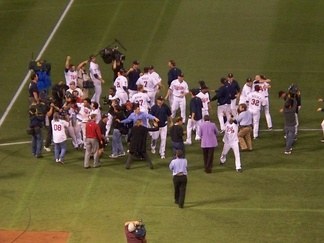 Minnesota Twins celebrate division tiebreaker victory over the Detroit Tigers.