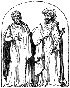 Two Druids, 19th century engraving based on a 1719 illustration by Bernard de Montfaucon, who claimed that he was reproducing a bas-relief found at Autun, Burgundy.[1]