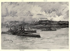 U.S. troopships and convoy at Playa de Ponce, in 1898, coincided with a period of economic stagnation for Ponce