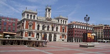 Plaza Mayor, Valladolid is a typical Spanish plaza.