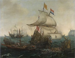 Dutch ships ramming Spanish galleys in the Battle of the Narrow Seas, October 1602