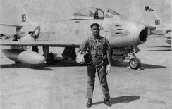 Waleed Karim with his F-86 Sabre Jet