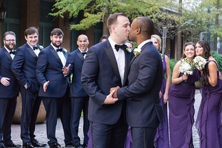 A newlywed same-sex couple celebrate their marriage in the United States.