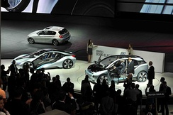 BMW i8 (left) and i3 (right) concept cars unveiled at the 2011 Frankfurt International Motor Show.