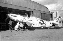 3595th PTW F-51D c. 1950 at a Nellis hangar