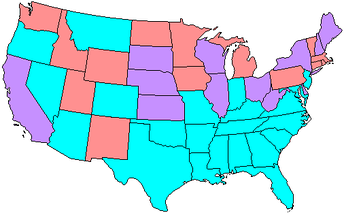 Map showing Senate party membership at the start of the 64th Congress. Red states are represented by two Republicans and blue by two Democrats. Purple states are represented by one senator from each party.