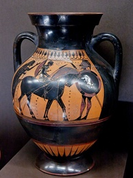 Warrior's departure; an Athenian amphora dated 550–540 BC.