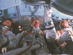 Chaffee, White, and Grissom training in a simulator of their command module cabin, January 19, 1967