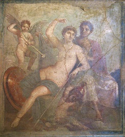 The mythological adultery of Venus and Mars, here attended by Cupid, was a popular subject for painting