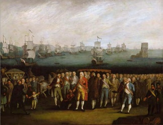 Prince Regent John and the Royal Court of Portugal prepare to embark in the Portuguese fleet seen on the Tagus, that would take them to Brazil.