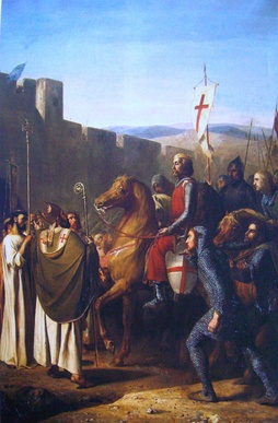 Baldwin of Boulogne   entering Edessa in 1098 (history painting, Joseph-Nicolas Robert-Fleury 1840)