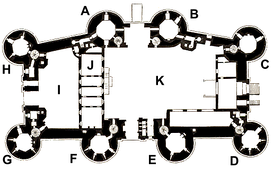 Plan of the Bastille in the 18th century. A – La Chapelle Tower; B – Trésor Tower; C – Comté Tower; D – Bazinière Tower; E – Bertaudière Tower; F – Liberté Tower; G – Puits Tower; H – Coin Tower; I – Courtyard of the Well; J – Office wing; K – Large Courtyard