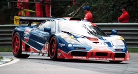 The 1996 F1 GTR of Gulf Racing at Brands Hatch.