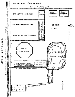 "Ground plan of The Theatre. The ""common sewer"" is now marked by Curtain Road, and the ""ditch from the horse-pond"" by New Inn Yard"