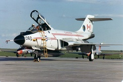 "CF-101 Voodoo 101060 from 409 ""Nighthawk"" Squadron, CFB Comox on the ramp at CFB Moose Jaw in spring 1982."