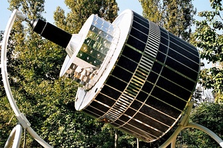 Model of a first generation Meteosat geostationary satellite.