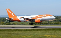 An EasyJet Europe Airbus A319 arrives at Bristol Airport in May 2019. This aircraft is registered in Austria as OE-LQQ.