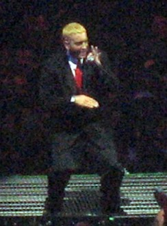 Eminem performing on the Anger Management Tour