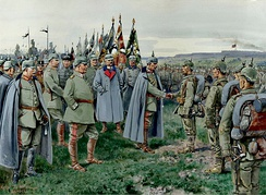 The Emperor presents the Iron Cross to the Heroes of Novogeorgievsk (painting by Ernst Zimmer)