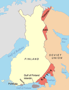 Areas ceded by Finland to the Soviet Union following the Moscow Armistice displayed in red