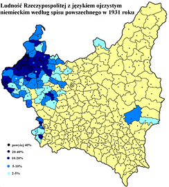 German language frequency in Poland – based on the Polish census of 1931