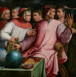 Giorgio Vasari, Six Tuscan Poets, c. 1544. From left to right: Marsilio Ficino, Cristoforo Landino, Francesco Petrarca, Giovanni Boccaccio, Dante Alighieri and Guido Cavalcanti.[9]