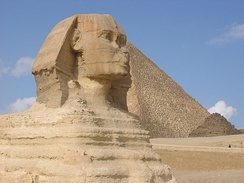 Alpha Phi Alpha chose to use Egyptian symbolism more representative of the members' African heritage. The Great Sphinx and Great Pyramids of Giza are fraternity icons.