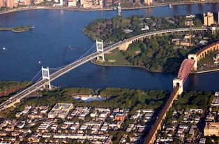 Part of the Triborough Bridge (left) with Astoria Park and its pool in the center