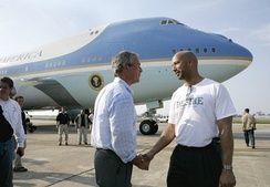 President Bush shaking hands with New Orleans Mayor Ray Nagin after viewing the devastation of Hurricane Katrina, September 2, 2005