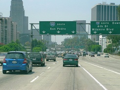 "The Harbor Freeway southbound entering ""The Slot"" after emerging from the ""4-level"""