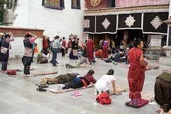 Indo-Tibetan Buddhist prostration practice at Jokhang, Tibet.
