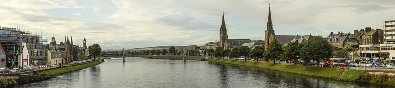 Panorama of Inverness looking downstream to the Greig St Bridge with Huntly Street (left), the River Ness and Bank Street (right)